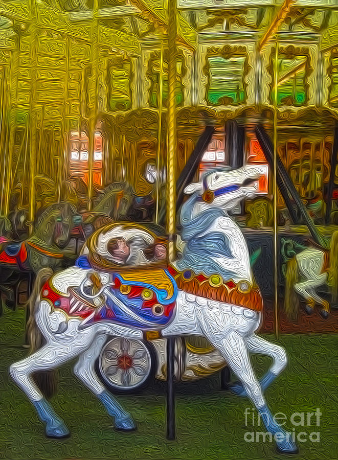 Santa Cruz Boardwalk Carousel Horse Painting  - Santa Cruz Boardwalk Carousel Horse Fine Art Print