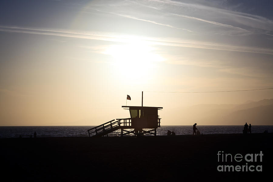 Santa Monica Lifeguard Stand Sunset Photo Photograph  - Santa Monica Lifeguard Stand Sunset Photo Fine Art Print