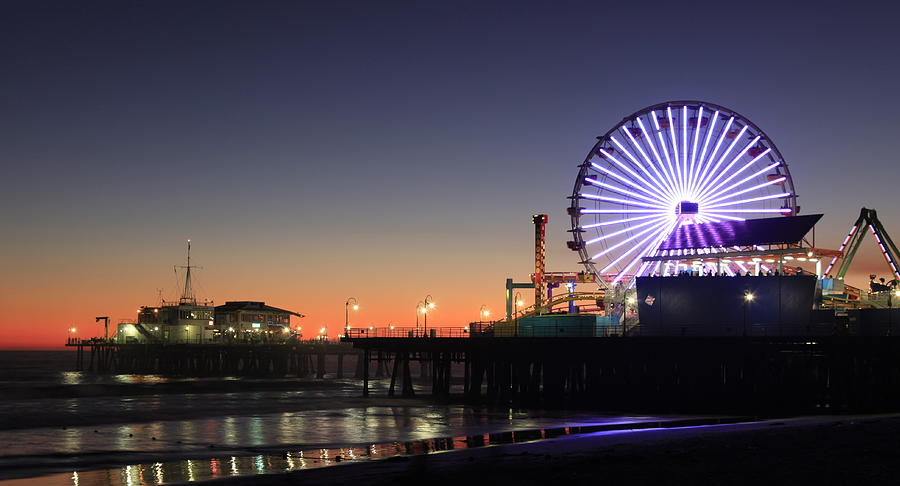 Santa Monica Pier At Sunset Photograph