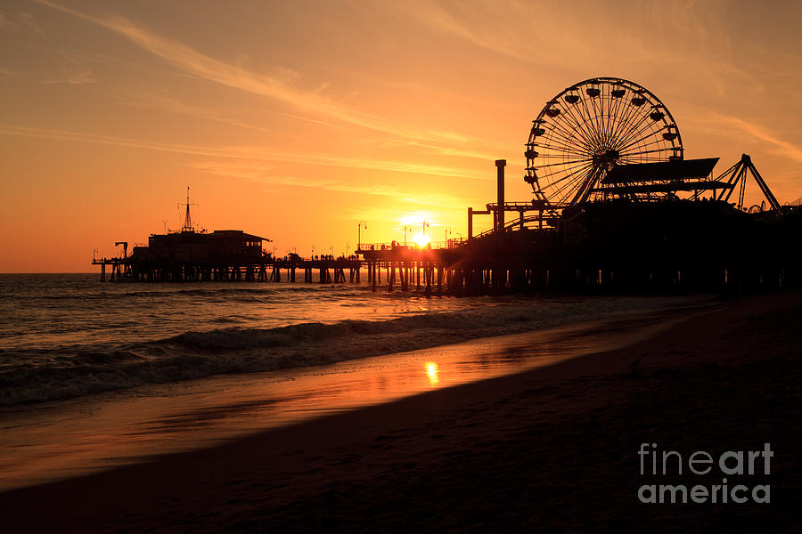 Santa Monica Pier California Sunset Photo Photograph