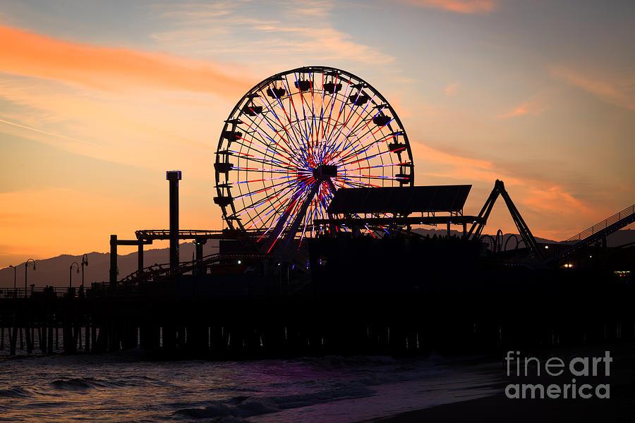 Santa Monica Pier Ferris Wheel Sunset Photograph