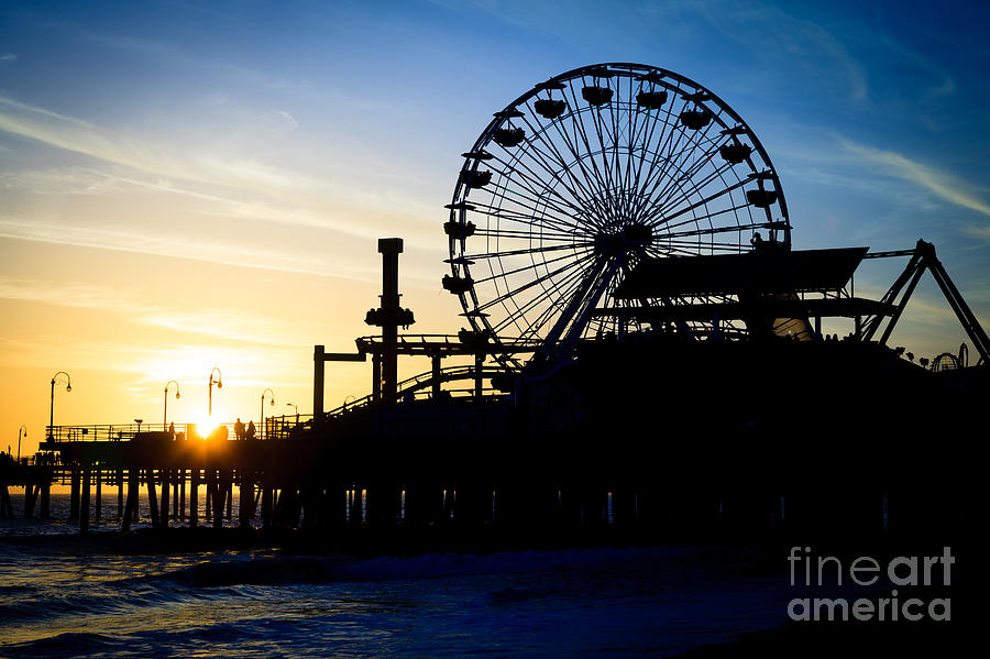 Santa Monica Pier Ferris Wheel Sunset Southern California Photograph