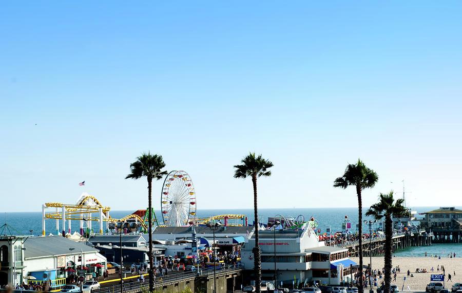 Santa Photograph - Santa Monica Pier by Malania Hammer