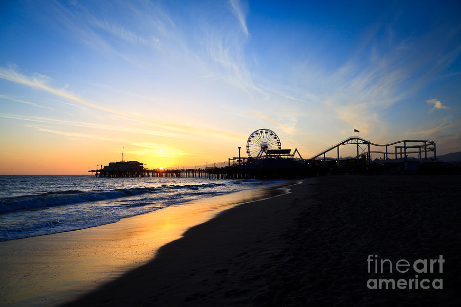 Santa Monica Pier Pacific Ocean Sunset Photograph  - Santa Monica Pier Pacific Ocean Sunset Fine Art Print