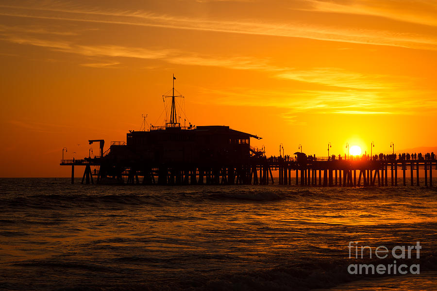 Santa Monica Pier Sunset Photograph  - Santa Monica Pier Sunset Fine Art Print