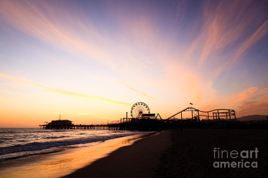 Santa Monica Pier Sunset Southern California Photograph  - Santa Monica Pier Sunset Southern California Fine Art Print
