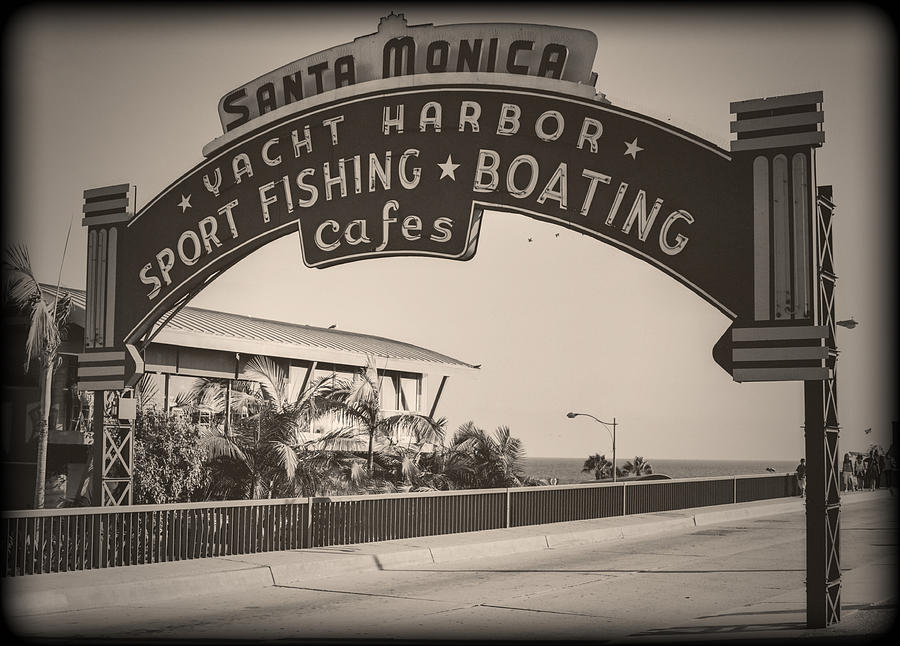 Santa Monica Sign Series Modern Vintage Photograph