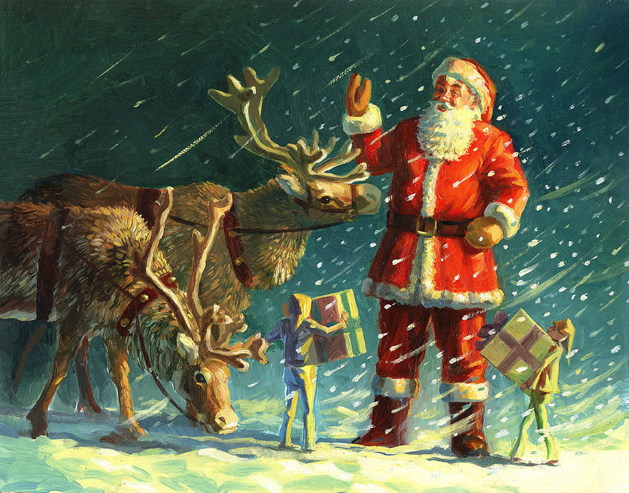 Santas And Elves Painting  - Santas And Elves Fine Art Print