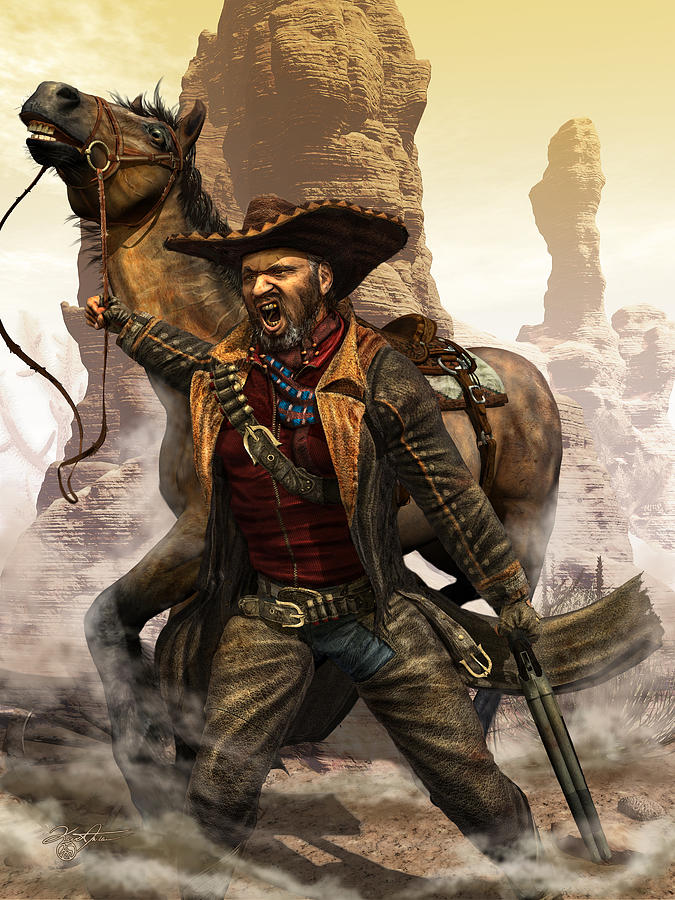Western Digital Art - Santiago by Kurt Miller