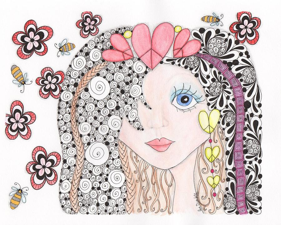 Sarah Drawing  - Sarah Fine Art Print