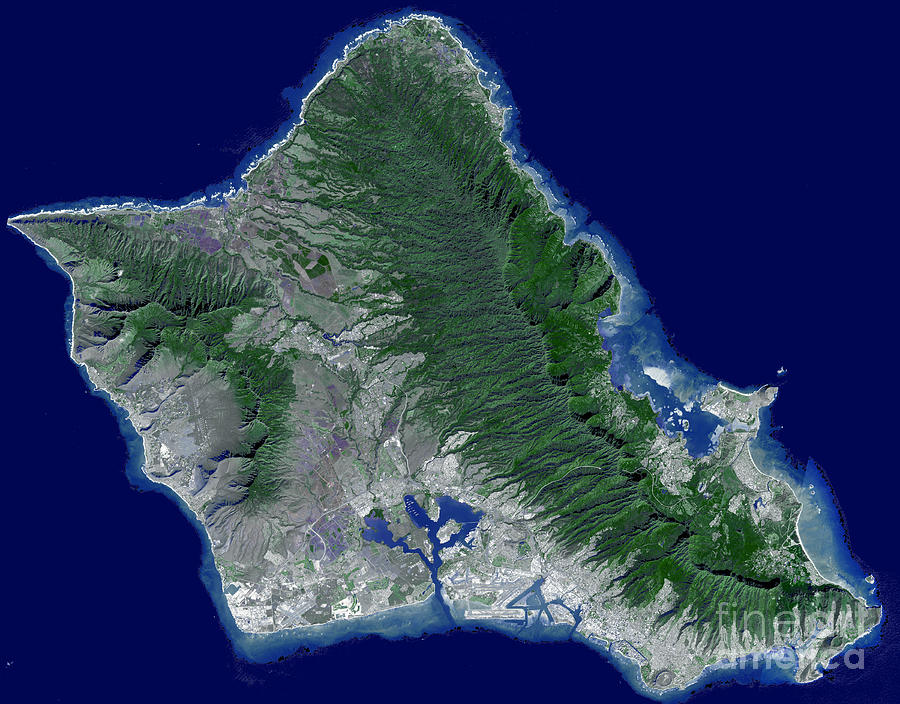 Satellite Image Of Oahu Hawaii Photograph By Stocktrek Images