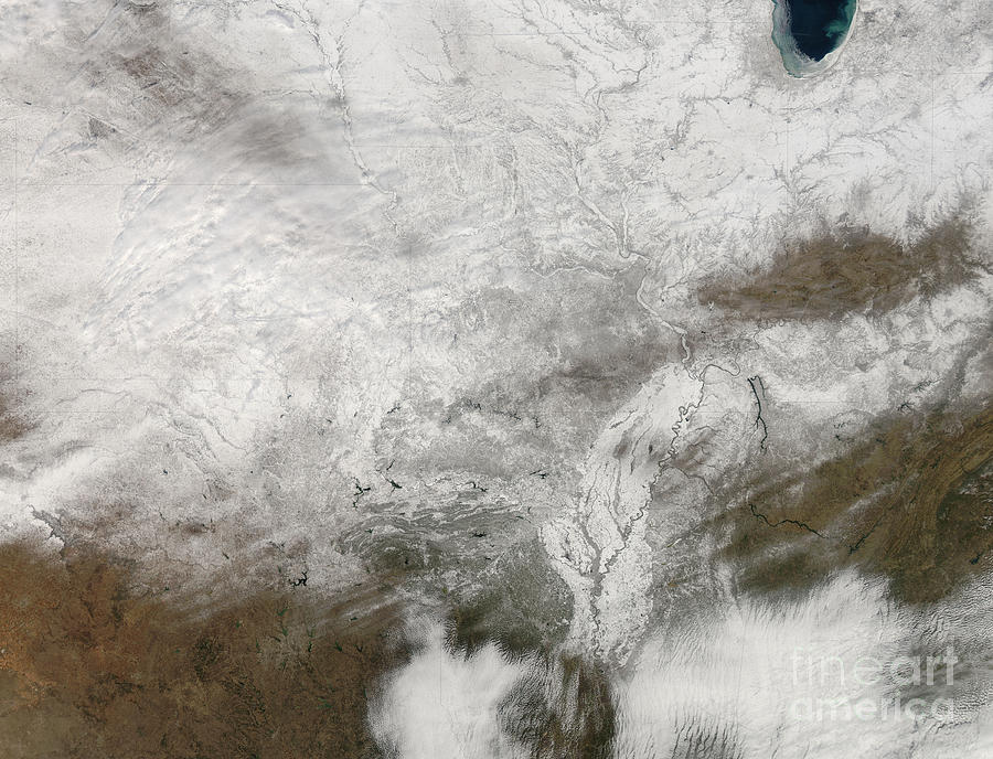 Satellite View Of A Severe Winter Storm Photograph  - Satellite View Of A Severe Winter Storm Fine Art Print