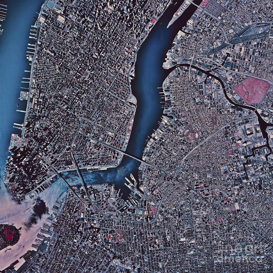 Satellite View Of Manhattan Amp Brooklyn Photograph By