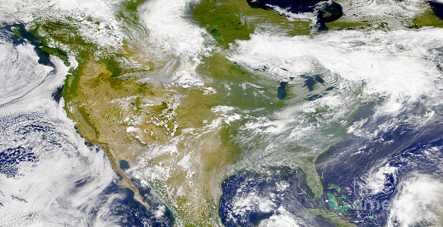 Color Image Photograph - Satellite View Of North America by Stocktrek Images