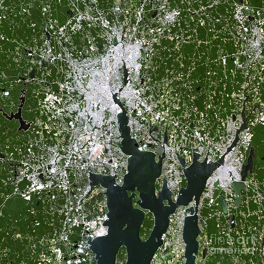 Close-up Photograph - Satellite View Of The Pawtucket by Stocktrek Images