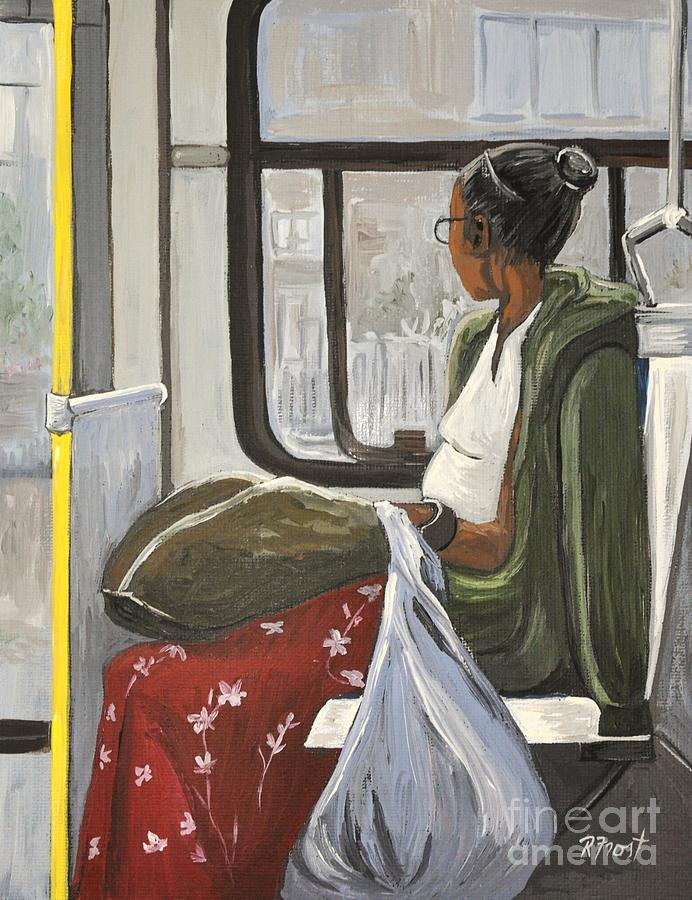 Bus Scenes Painting - Saturday Rider On The 107 by Reb Frost