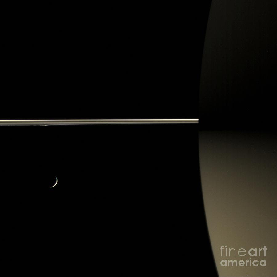 Saturn And Its Moon Tethys Photograph