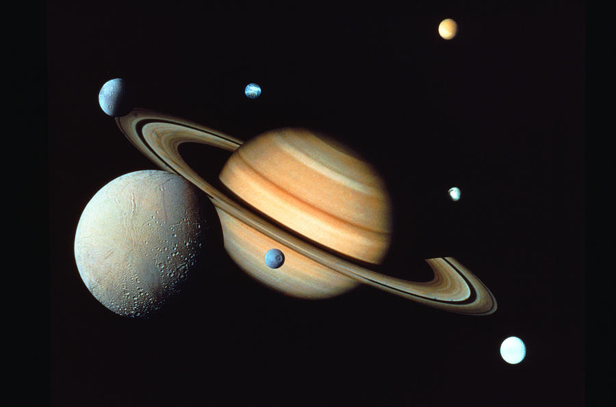 Saturn And Satellites Photograph  - Saturn And Satellites Fine Art Print