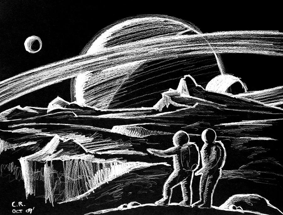 Saturn Visitors Drawing  - Saturn Visitors Fine Art Print