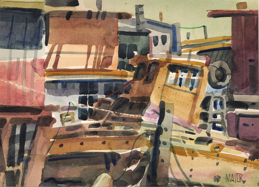 Sausalito House Boats Painting
