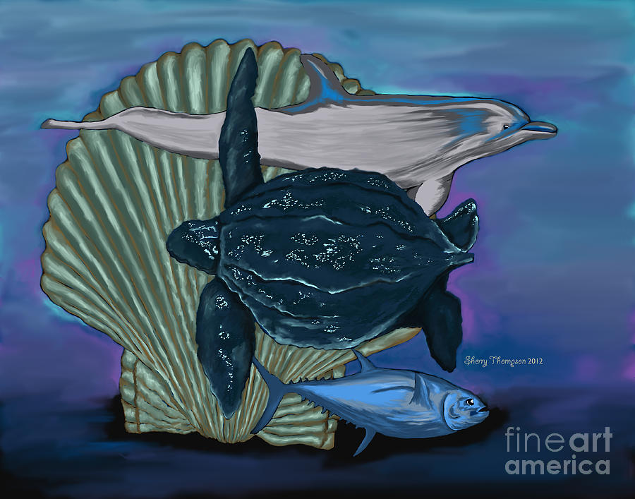Save The Marine Life Digital Art  - Save The Marine Life Fine Art Print