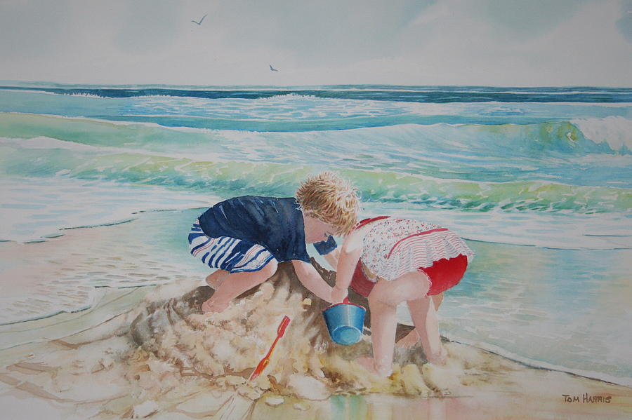 Saving The Sand Castle From The Tide Painting