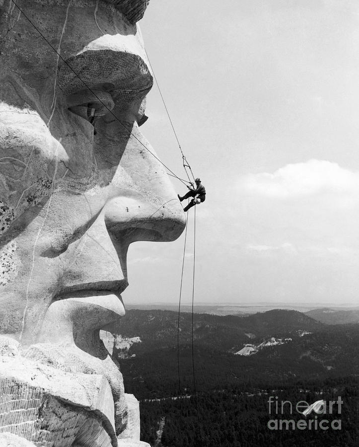 Scaling Mount Rushmore Photograph