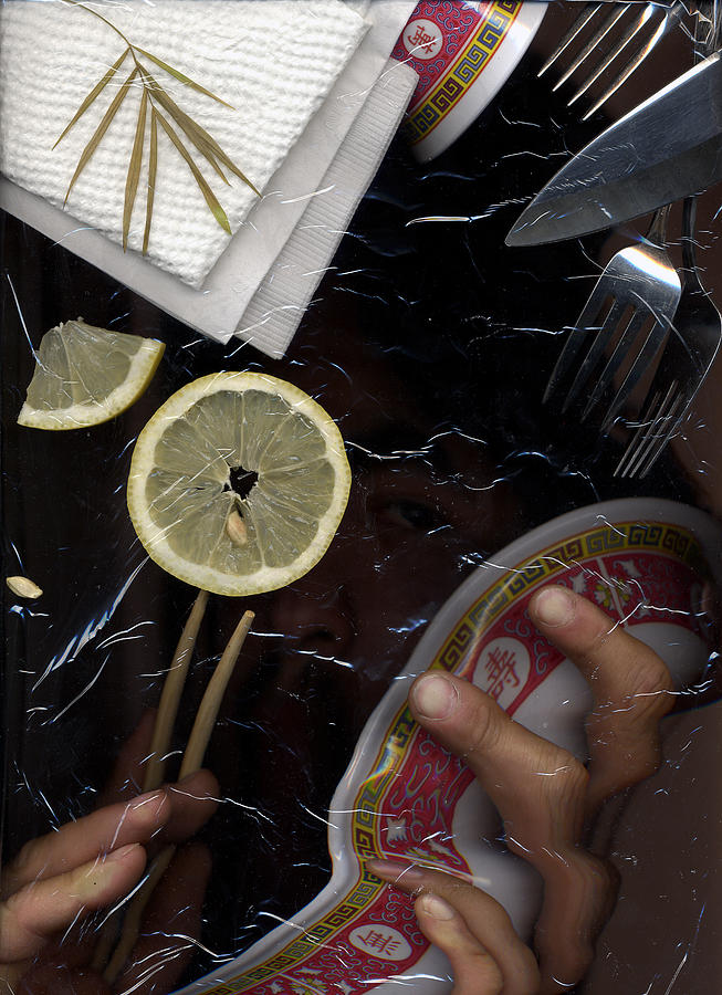 Scanner Lemon Cutlery Cuisine Napkins Dinner Lunch Breakfast Stock Photography Seed Asian Bowl Hidden Image Fork Knife Dark Texture Food Meal Hunger Hungry Eat  Photograph - Scan by Gabe Arroyo
