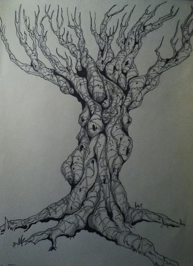 scary tree drawing by chris ivey