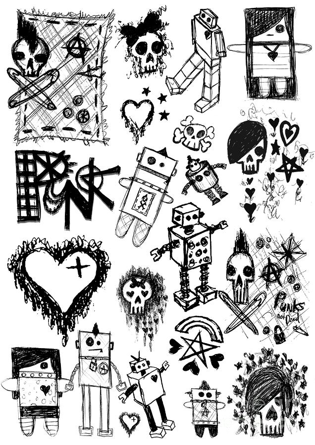 Scene Kid Sketches Drawing  - Scene Kid Sketches Fine Art Print