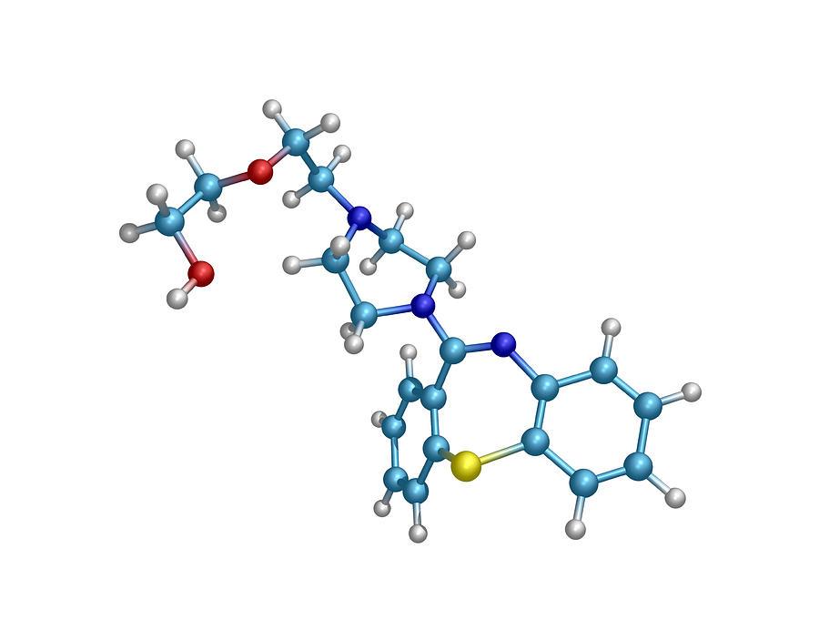 Quetiapine Photograph - Schizophrenia Drug Molecule by Dr Tim Evans