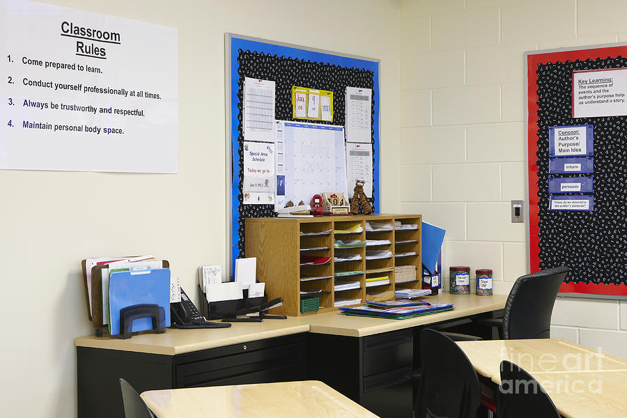 School Teachers Desk Photograph  - School Teachers Desk Fine Art Print