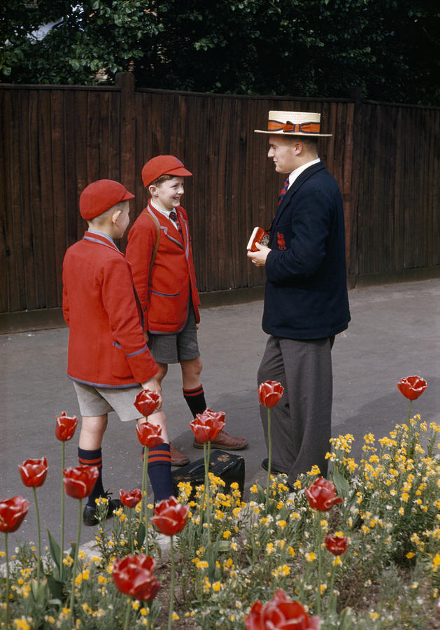 Schoolboys Chat With A Master At Kings Photograph