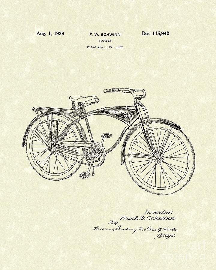 Schwinn Bicycle 1939 Patent Art Drawing  - Schwinn Bicycle 1939 Patent Art Fine Art Print