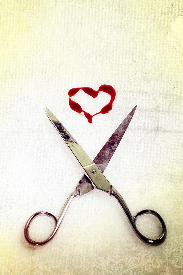 Scissors And Heart Photograph  - Scissors And Heart Fine Art Print