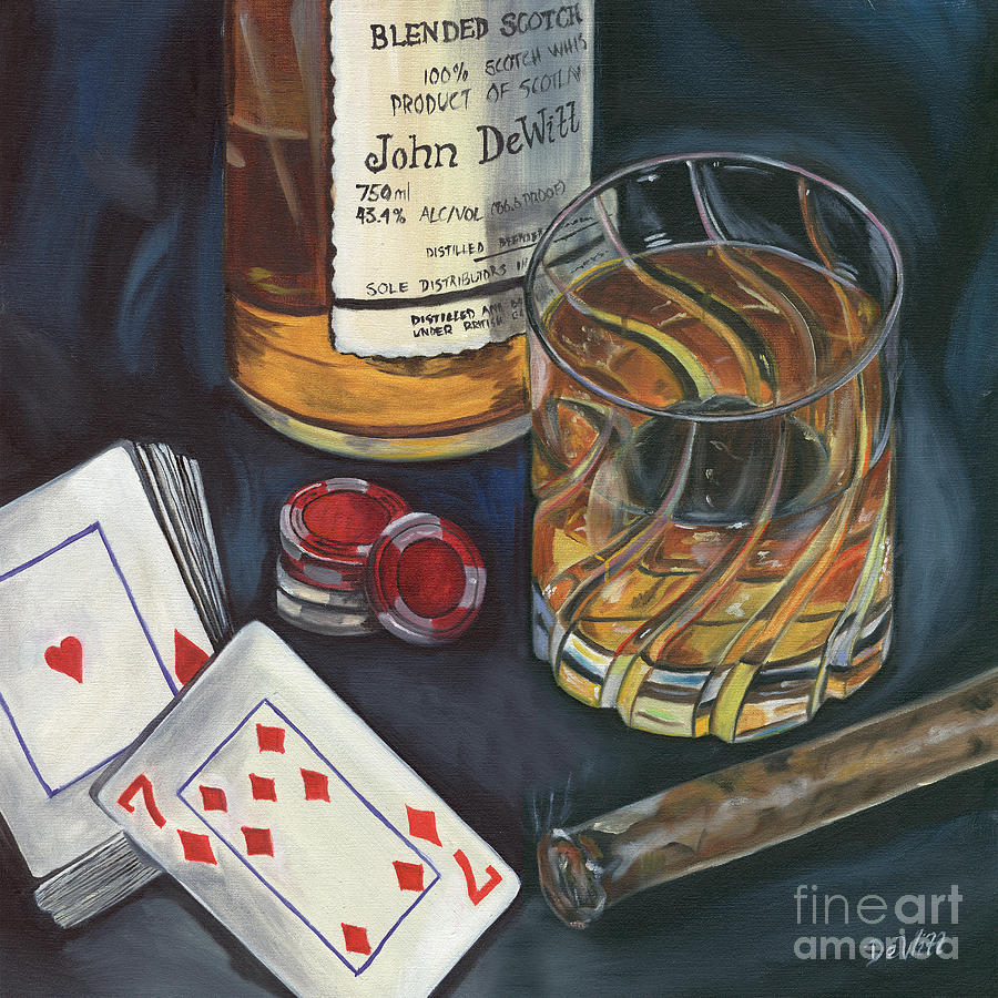 Scotch And Cigars 4 Painting  - Scotch And Cigars 4 Fine Art Print