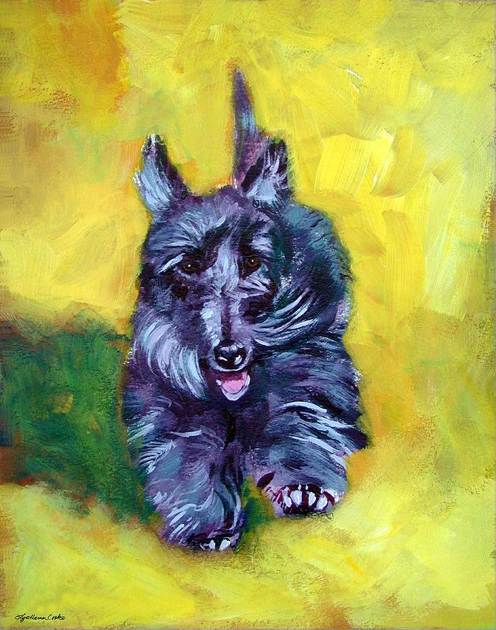 Scottie Trot  - Scottish Terrier Painting