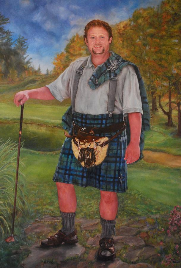Scottish Golfer Painting