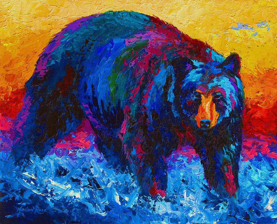 Scouting For Fish - Black Bear Painting  - Scouting For Fish - Black Bear Fine Art Print
