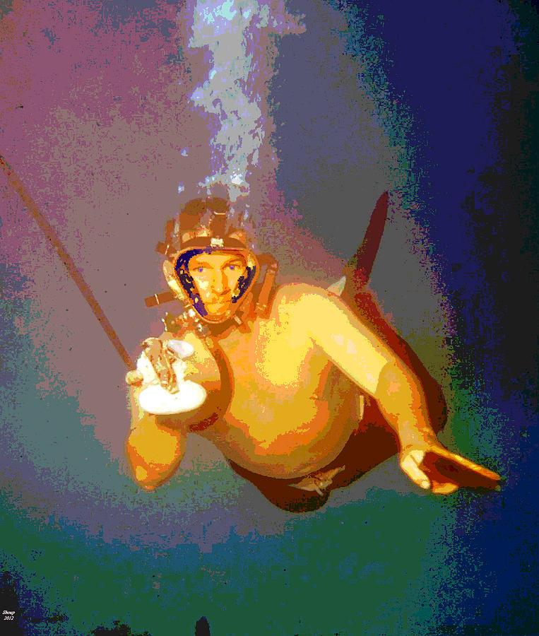 Scuba Diver Mixed Media