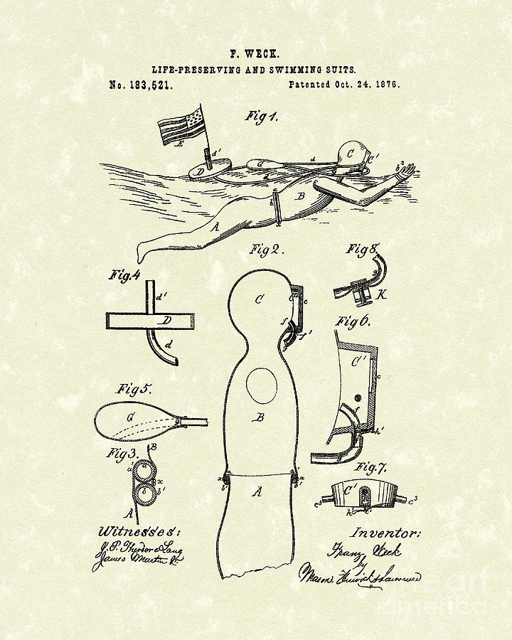Scuba Suit 1876 Patent Art Drawing  - Scuba Suit 1876 Patent Art Fine Art Print