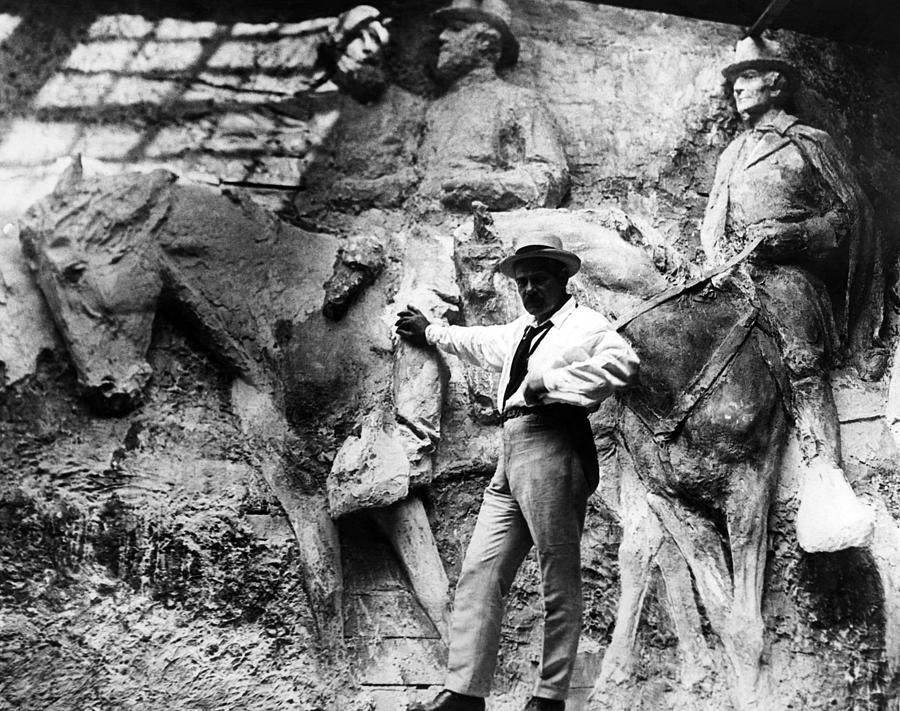 Sculptor Gutzon Borglum In His Studio Photograph