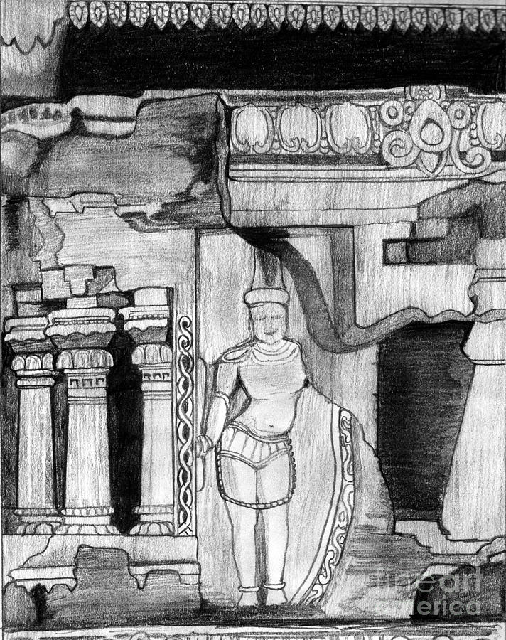 Sculpture At Hampi Drawing
