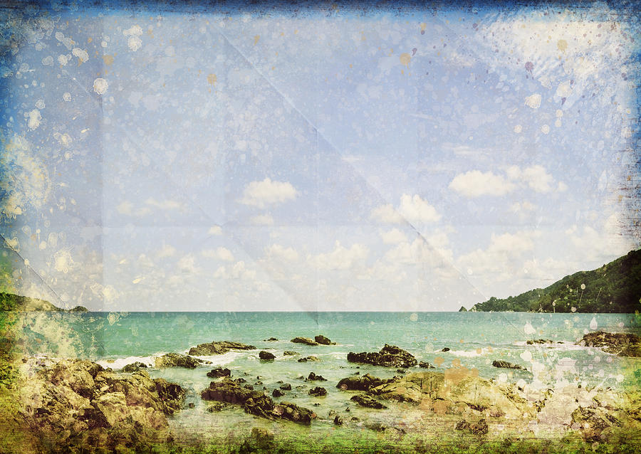 Sea And Cloud On Grunge Paper Photograph