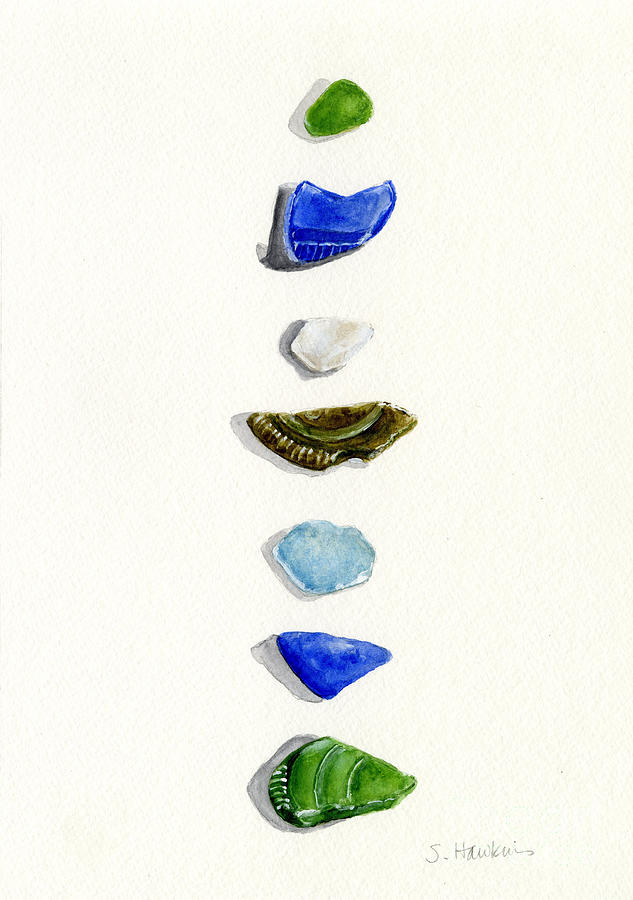 Sea Glass Watercolor Painting