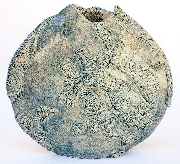 Vase Ceramic Art - Sea Green Swirls by Vicky DeLong