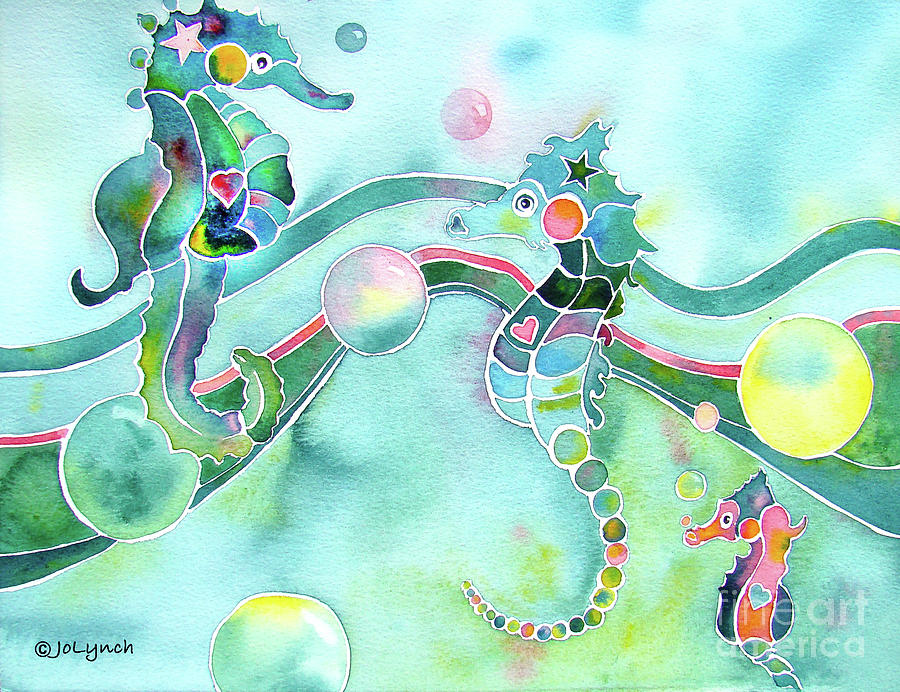 Sea Horses Dance Prints  Painting  - Sea Horses Dance Prints  Fine Art Print