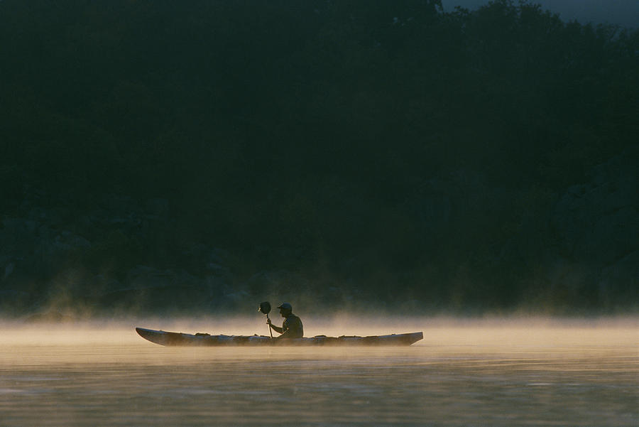 Sea Kayak Silhouette On Potomac River Photograph