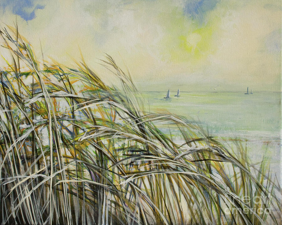 Sea Oats Sailboats Painting