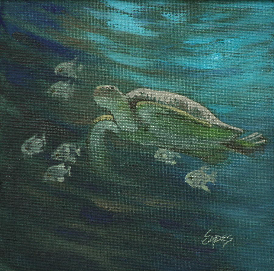 Sea turtle and fish painting by linda eades blackburn for Turtle fish paint